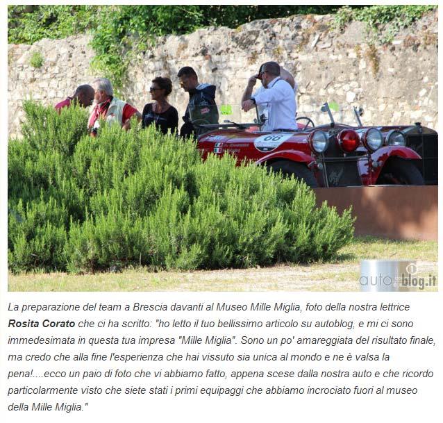 partenza mille miglia equipaggio alfa romeo sull'articolo di Autoblog.it menzionano Corato