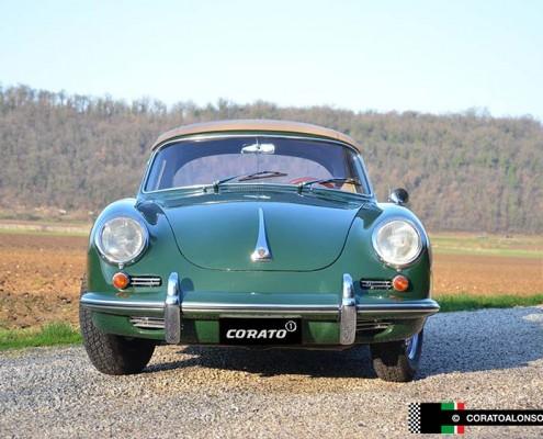 restauro Porsche 356 C Cabriolet 1964 Verde Irlanda vista anteriore