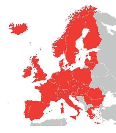 Mappa dei Paesi dove si può circolare senza carta verde